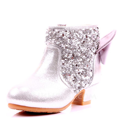 Girl's Round Toe Closed Toe Ankle Boots Leatherette Low Heel Boots Flower Girl Shoes With Bowknot