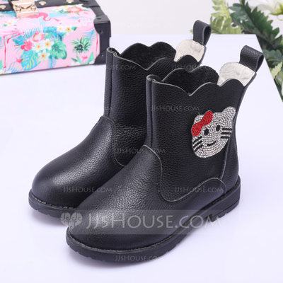 Girl's Closed Toe Ankle Boots Real Leather Low Heel Boots Flower Girl Shoes