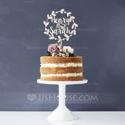 Personalized Bride And Groom Wood Cake Topper