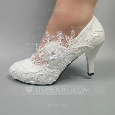 Women's Leatherette Stiletto Heel Closed Toe Pumps With Beading Stitching Lace