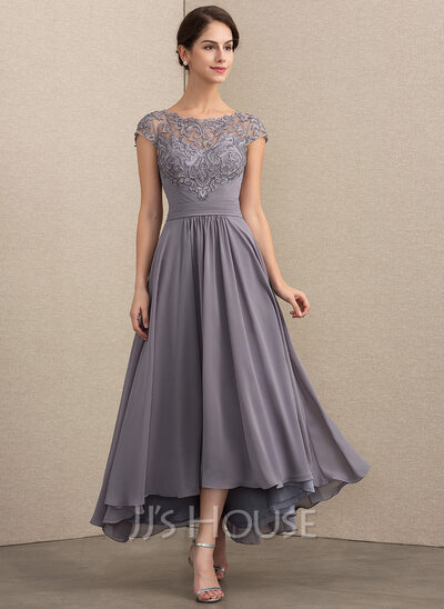 A-Line/Princess Scoop Neck Asymmetrical Chiffon Lace Mother of the Bride Dress