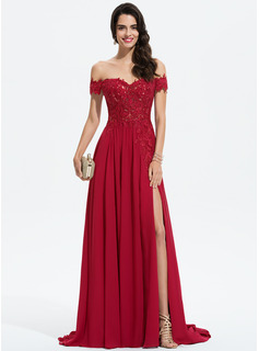 A-Line Off-the-Shoulder Sweep Train Chiffon Prom Dresses With Lace Sequins