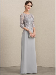 A-Line/Princess Scoop Neck Floor-Length Chiffon Lace Mother of the Bride Dress With Sequins