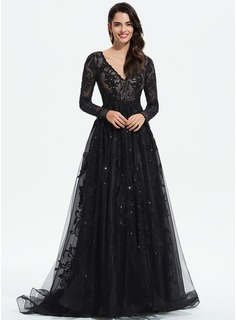 Ball-Gown/Princess V-neck Sweep Train Tulle Prom Dresses With Lace Sequins