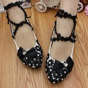 Women's Lace Leatherette Flat Heel Closed Toe Pumps With Rhinestone Applique