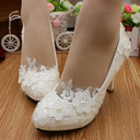 Women's Lace Leatherette Stiletto Heel Closed Toe Pumps With Imitation Pearl Applique