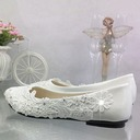 Women's Patent Leather Flat Heel Closed Toe Pumps With Imitation Pearl Stitching Lace