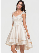 A-Line/Princess Sweetheart Asymmetrical Satin Cocktail Dress With Lace Beading Cascading Ruffles