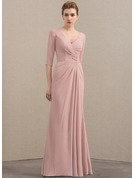 A-Line/Princess V-neck Floor-Length Chiffon Sequined Mother of the Bride Dress With Ruffle