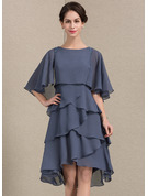 A-Line/Princess Scoop Neck Asymmetrical Chiffon Mother of the Bride Dress With Beading Sequins Cascading Ruffles
