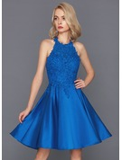 A-Line/Princess Halter Knee-Length Satin Homecoming Dress