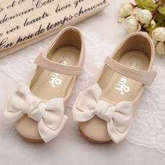 Girl's Round Toe Mary Jane Leatherette Flat Heel Flats Flower Girl Shoes With Bowknot Velcro