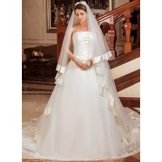 Two-tier Chapel Bridal Veils With Ribbon Edge