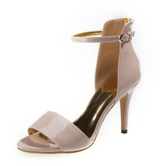 Patent Leather Stiletto Heel Sandals Pumps Peep Toe With Buckle shoes