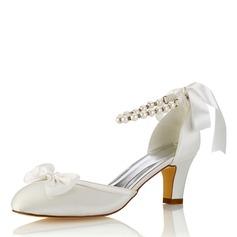 Women's Silk Like Satin Stiletto Heel Closed Toe Pumps With Bowknot Crystal