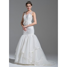 Trumpet/Mermaid V-neck Sweep Train Organza Lace Wedding Dress With Beading Sequins Bow(s)