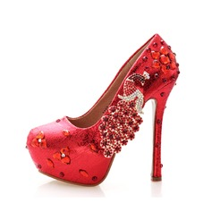 Women's Patent Leather Stiletto Heel Closed Toe Platform Pumps With Rhinestone