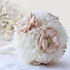 Lovely Round Satin/Rhinestone/Silk linen Bridal Bouquets/Bridesmaid Bouquets