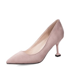 Women's Suede Spool Heel Closed Toe Pumps With Others