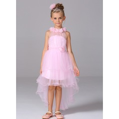 A-Line/Princess Court Train Flower Girl Dress - Tulle Sleeveless High Neck With Flower(s)