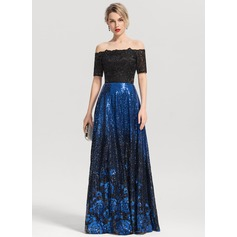 A-Line/Princess Off-the-Shoulder Floor-Length Sequined Evening Dress
