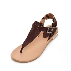 Real Leather Flat Heel Sandals Slingbacks With Buckle shoes