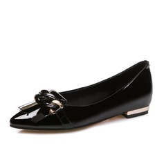 Women's Real Leather Flat Heel Flats Closed Toe shoes (086084247)