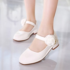 Girl's Closed Toe Leatherette Low Heel Pumps Flower Girl Shoes With Imitation Pearl Velcro Flower