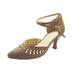 Women's Nubuck Heels Pumps Modern With Ankle Strap Dance Shoes