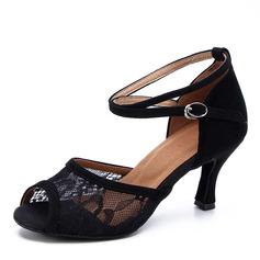 De mujer Ante Malla Tacones Danza latina Zapatos de danza