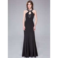 Trumpet/Mermaid Scoop Neck Sweep Train Jersey Evening Dress With Beading