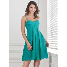 Empire Sweetheart Short/Mini Chiffon Bridesmaid Dress With Ruffle