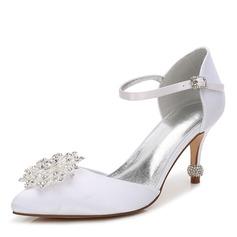 Women's Silk Like Satin Stiletto Heel Closed Toe Pumps With Crystal Heel Crystal