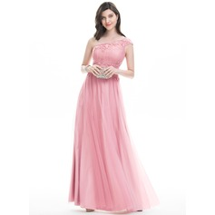 A-Line/Princess One-Shoulder Floor-Length Tulle Evening Dress With Lace Beading Sequins