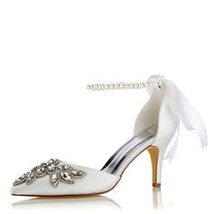 Women's Silk Like Satin Stiletto Heel Pumps With Crystal Pearl