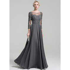 A-Line/Princess Scoop Neck Floor-Length Chiffon Evening Dress With Beading Sequins (017096348)