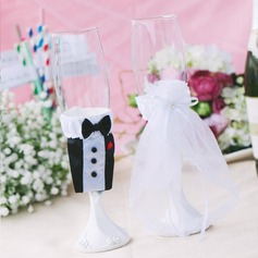 Bride and Groom Satin Cup Cover
