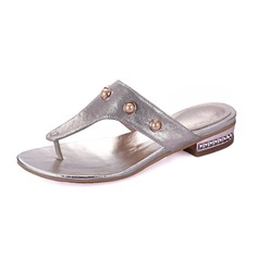 Leatherette Low Heel Sandals Slippers With Imitation Pearl shoes