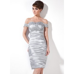 Sheath/Column Off-the-Shoulder Knee-Length Charmeuse Cocktail Dress With Ruffle Beading Appliques Lace