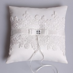 Elegant Ring Pillow in Satin/Lace With Rhinestones