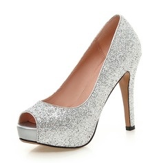 Women's Sparkling Glitter Stiletto Heel Peep Toe Pumps With Others