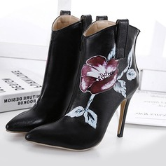 Women's Leatherette Stiletto Heel Ankle Boots With Flower shoes (088111312)