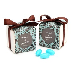 Chocolate & Turquoise Damask Cubic Favor Boxes With Ribbons