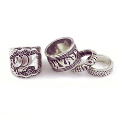 Exotic Alloy Ladies' Fashion Rings (4 pieces)