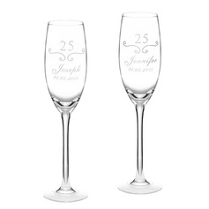 "Personalized ""Anniversary"" Glass Toasting Flutes"