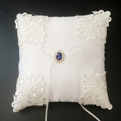 Classic Ring Pillow in Satin/Lace With Ribbons/Rhinestones