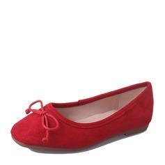 Donna Camoscio Senza tacco Ballerine Punta chiusa con Bowknot scarpe
