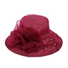 Ladies' Elegant Organza With Silk Flower Bowler/Cloche Hat/Beach/Sun Hats