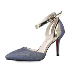 Sparkling Glitter Stiletto Heel Pumps Closed Toe With Buckle shoes