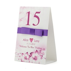 Personalized Heart design Paper Table Number Cards With Ribbons